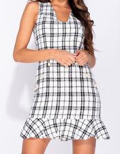 SALE! New Parisian Checked Frill Hem Sleeveless Bodycon Mini Dress UK Sizes 6-14