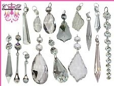 Clear Cut Glass Crystals Beads Chandelier Spare Light Parts Prisms Bling Drops