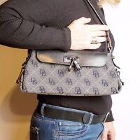 Dooney & Bourke Signature Denim Medium Purse Blue Leather Trim Handbag