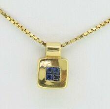 18ct Yellow Gold Sapphire Pendant & Chain