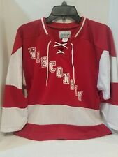 Vtg Koronis apparel Youth S Wisconsin Badgers Hockey Jersey Mesh Red White Usa