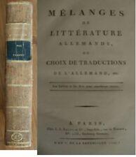 Mélanges de littérature allemande Cabanis 1797 an V. de la République