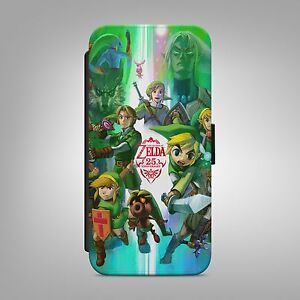 THE LEGEND OF ZELDA GAME LEATHER FLIP WALLET PHONE CASE COVER FOR IPHONE SAMSUNG