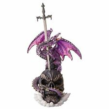 Dragon Wing Skull Sword Statue Mythical Creature Medieval Gothic Decor Theme Art