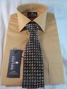NWT STAFFORD EASY CARE BROADCLOTH DRESS SHIRT & TIE, Multiple sizes, GOLD