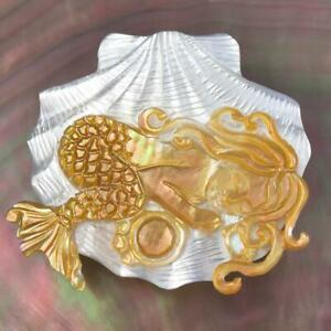 White Mother-of-Pearl Penguin Oyster Shell Carved Mermaid Design Cabochon 3.67g