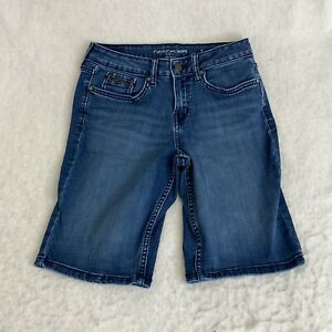 Calvin Klein Jeans Womens Blue Regular Flat Front Denim Bermuda City Shorts Sz 4