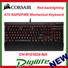 Corsair Gaming K70 RAPIDFIRE Mechanical Keyboard Backlit Red LED Cherry MX Speed