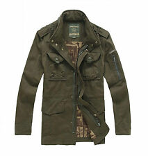 New mens Cotton Casual Army Style  Jacket zip up hunting safari desert