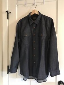 Pendleton Men's 100% Wool blue Denim Western plaid Shirt Large L NEW without tag