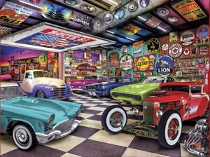 Jigsaw Puzzle Vehicle Collectors Garage Classic Cars & Gas Signs 750 pieces NEW
