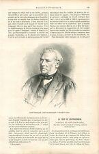 Portrait de Joseph Boussingault chimiste botaniste agronome GRAVURE 1888