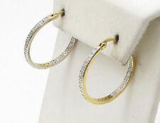 "18k Gold & Sterling Silver~Diamond~Victoria Townsend~Hoop Earrings~.40ctw~1.25"""