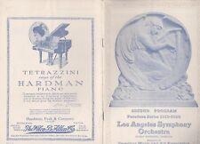 Los Angeles Symphony Orchestra 1919-20 Pasadena Series Second Program