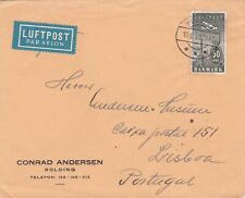 Denmark 1939 Air Mail cover to Portugal single franking 50 øre stamp