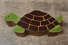 Wood Wooden Turtle Trinket Box - green brown - lightweight