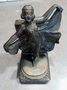 Vtg Brass lady / woman art nouveau book end flowing dress