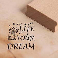 Stempel Holzstempel - LIFE YOUR DREAM Pusteblume Motivstempel Abdruck 48x48mm ❤️