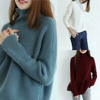 Women's Sweater Cashmere Turtleneck Neck Long Sleeve S-2XL Coat Tops Zsell