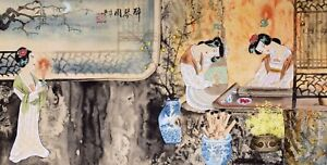 100% ORIENTAL ASIAN FINE ART CHINESE FAMOUS WATERCOLOR PAINTING-Sexy Beauty Girl
