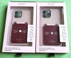 KATE SPADE MEOW CAT PHONE STICKER POCKET & FLEXIBLE CASE SET:NIB 12/12PRO,12PMAX