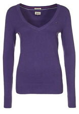 Tommy Hilfiger Womens Hayley V Neck Purple UK 14 16 L XL Jumper Knitwear Ladies