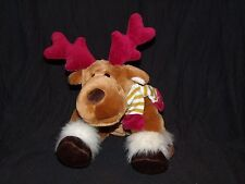Animal Alley Moose Reindeer Gold White Striped Scarf Red Antlers Plush 10""