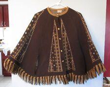 Vintage 70's STURBRIDGE Brown/Tan Button-up Sweater Cape Poncho Estate Find