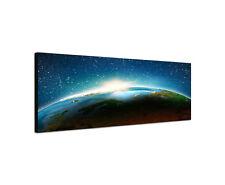 120x40cm Planet Erde mit Sonnenstrahlen Weltraum All Wandbild Leinwand Sinus Art