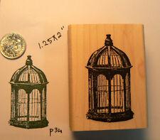 """P34 Bird cage rubber stamp WM 2x1.5"""""""