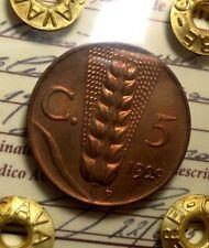 5 CENTESIMI 1929 SPIGA PERIZIATA ECCEZIONALE FIOR DI CONIO RAME ROSSO ITALY