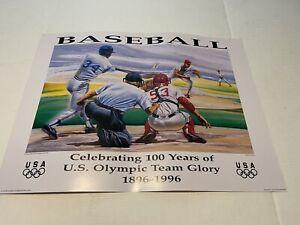 1996  BASEBALL 100 YEARS CELEBRATING U.S. OLYMPIC TEAM GLORY POSTER Original