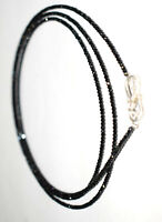 Natural Black Spinel 925 Sterling Silver Necklace 2mm Rondelle Faceted Beads U12