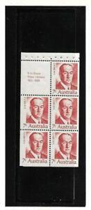 Australia 7c Prime Minister Bruce Booklet Pane Mint Never Hinged