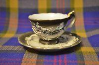 Vintage Black NIKONIKO Relief Dragonware Demitasse Cup & Saucer-Japan