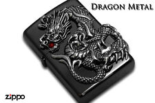 Zippo Dragon 2-side Metal Red Coral Japan Limited F/S Oil Lighter Black Nickel