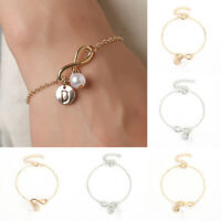 Adjustable Bracelet Initial Knot Pearl Charm Chain Bangle Womens Jewellery Gifts