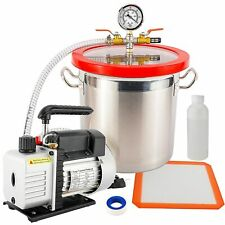 3 Gallon Vacuum Chamber 3 Cfm Dual Stage Pump Kit For Degassing Silicone Epoxy