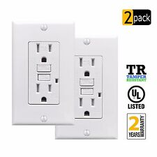 (2-Pack) PROCURU 15A Tamper Resistant GFCI Receptacle Outlet with Plate & Screws