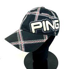 Ping Plaid Embroidered Logo Strapback Golf Cap Black Adjustable Vintage Retro