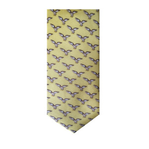 Soprano Flying Owl on Pastel Yellow Silk Tie