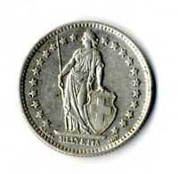 Moneda Suiza 1960 B 1 franco suizos plata .835 silver coin Helvetia ref. 02