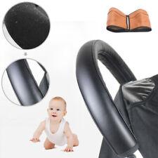 Baby Kinderwagen Griff PU Leder Schutzhülle Handgriffe Abdeckung Reißverschluss