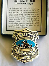 World Trade Towers Center Commemorative K-9 Rescue Badge 9-11 Made USA