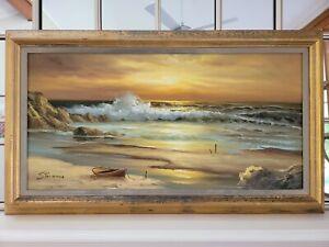 Original Large Seascape Oil Painting By Stevens