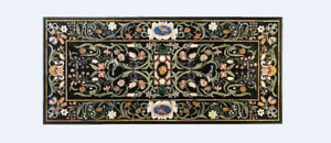 """20""""x40"""" Black Marble Dining Table Top With 18"""" Stand Floral Handmade Decors B491"""