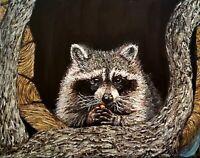 Raccoon Eating Fruit Original Painting 14 x 11 Art Beautiful Acrylic Florida