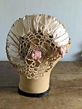 Vintage 1920s Women's Nightcap Cloche Hat - Boudoir - Pink Crochet