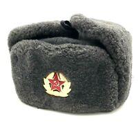 Ushanka Hat Soviet Army Red Star Badge Military USSR Winter Soldier 58 Size NOS