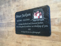 Beautiful Grave Memorial Slate Photo Plaque - Personalised for your loved one
